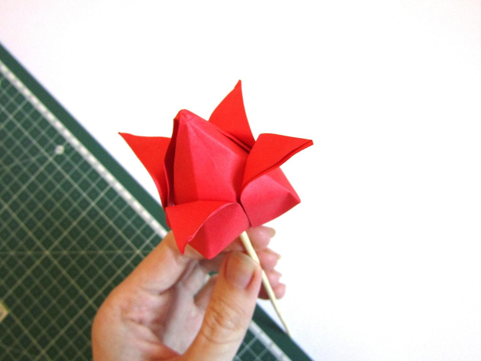 Оригами тюльпан из бумаги