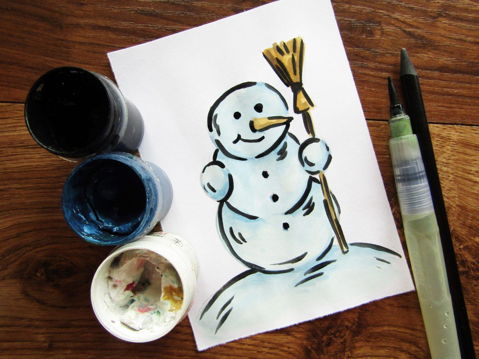 Как нарисовать снеговика гуашью - 1