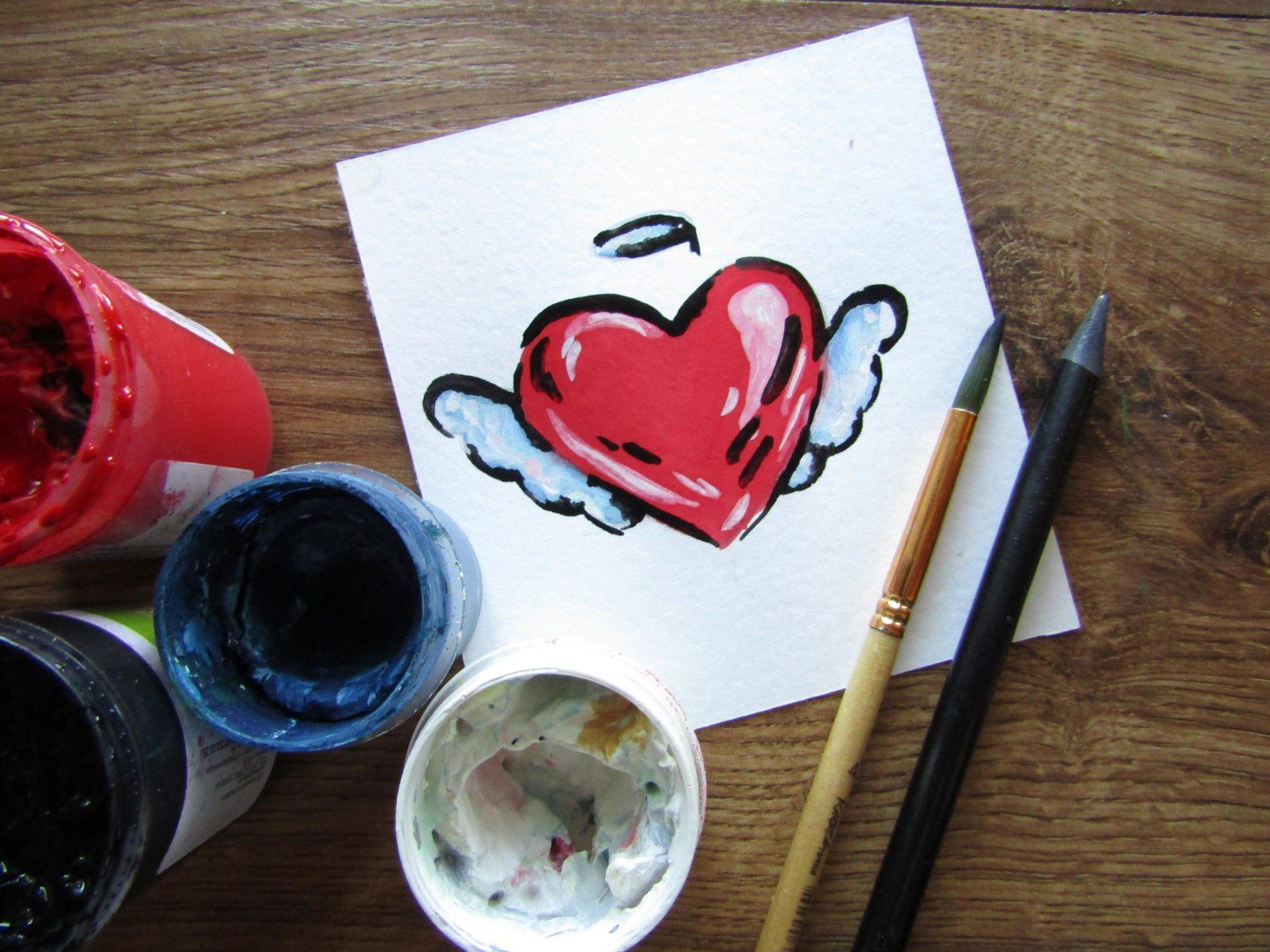 Как нарисовать сердечко гуашью - 1