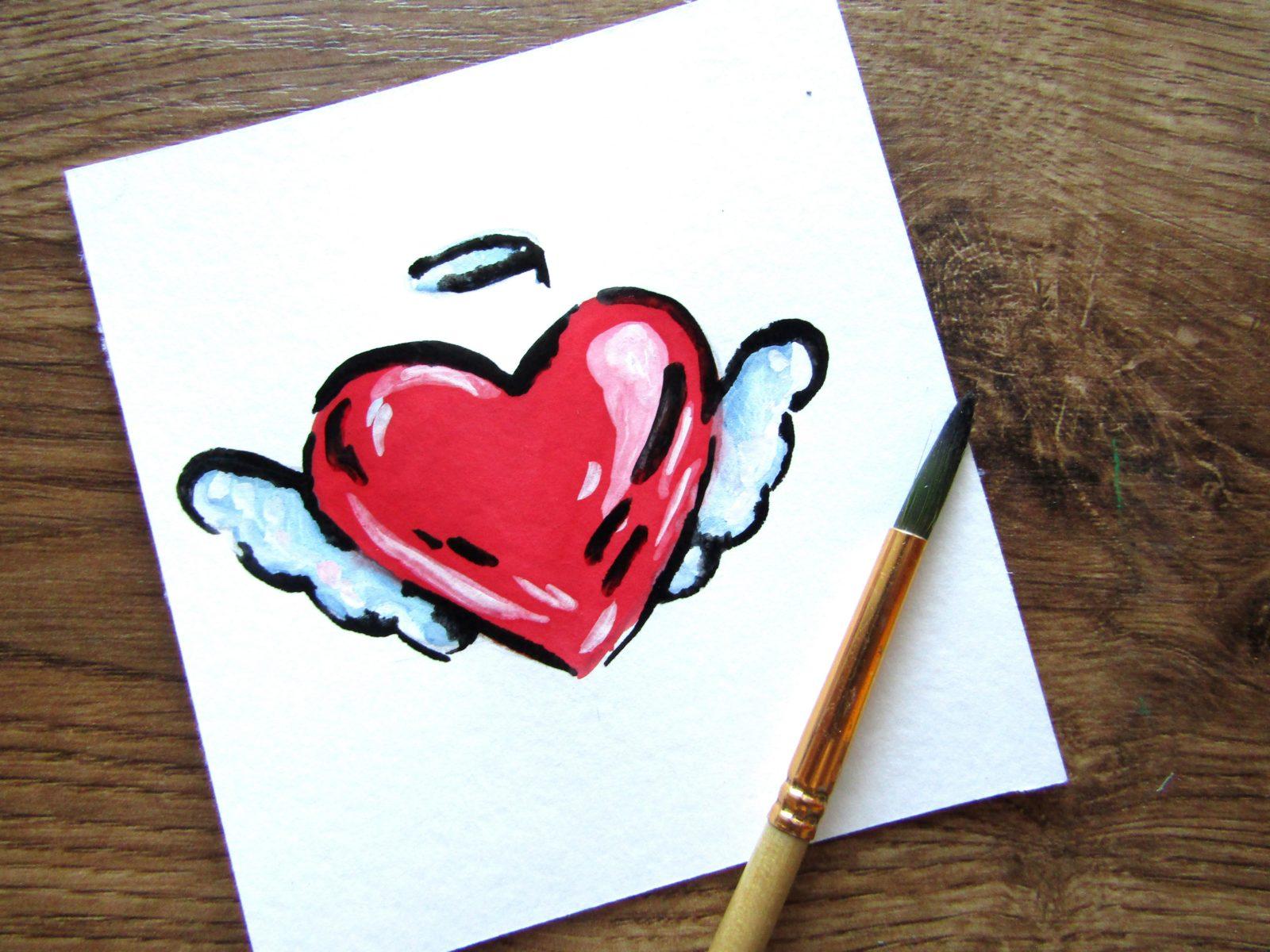 Как нарисовать сердечко гуашью - 10