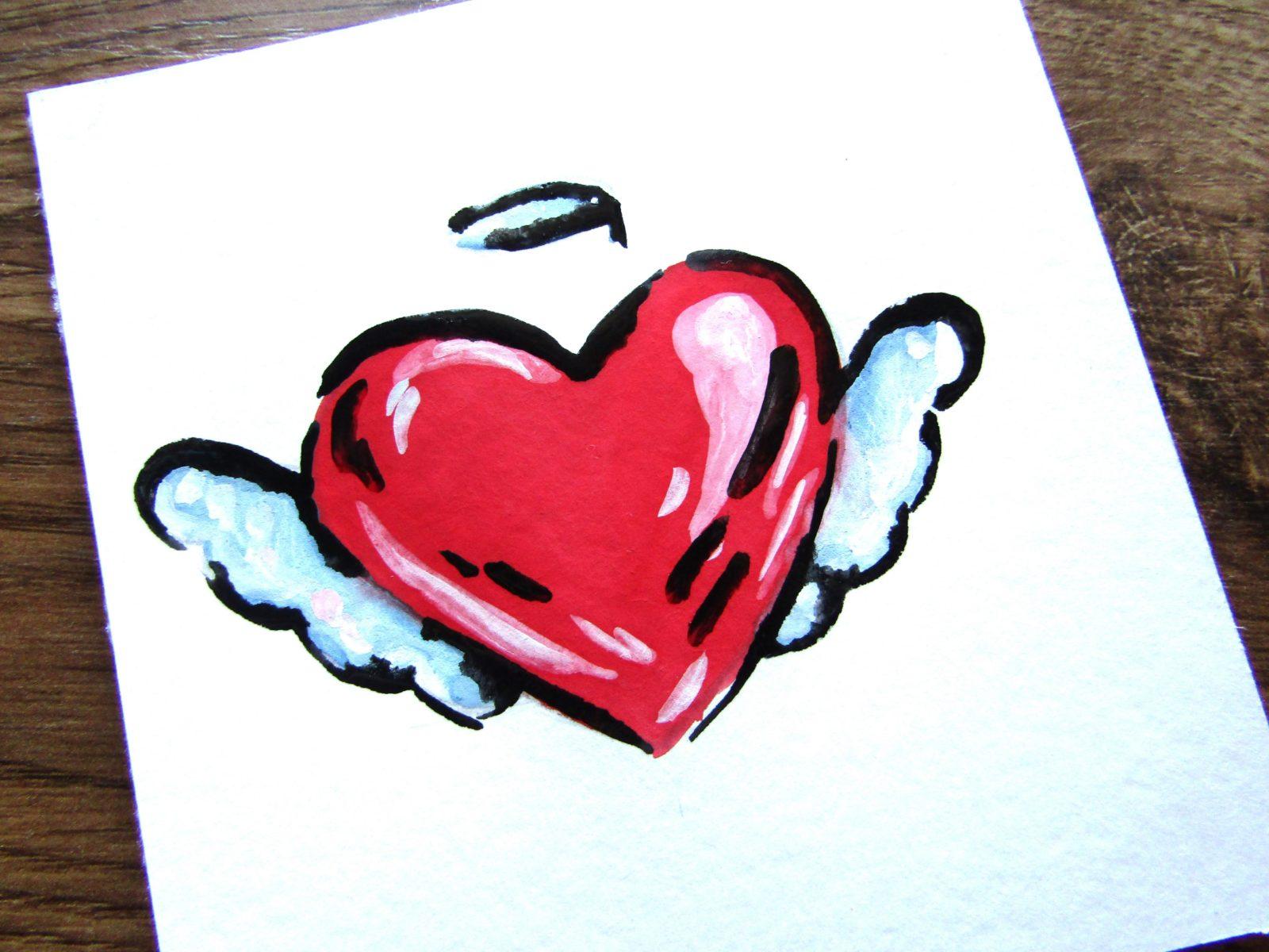 Как нарисовать сердечко гуашью