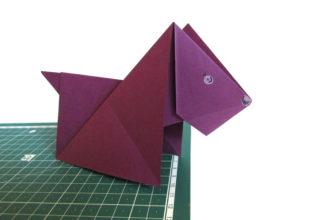 Оригами собака из бумаги