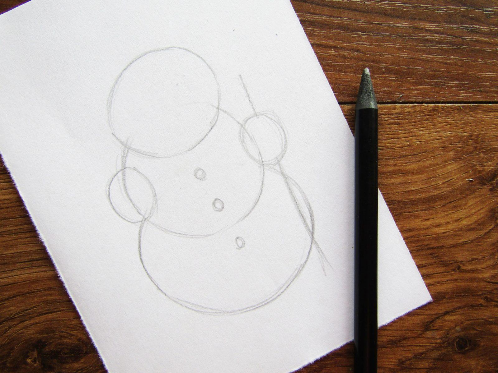 Как нарисовать снеговика гуашью - 3