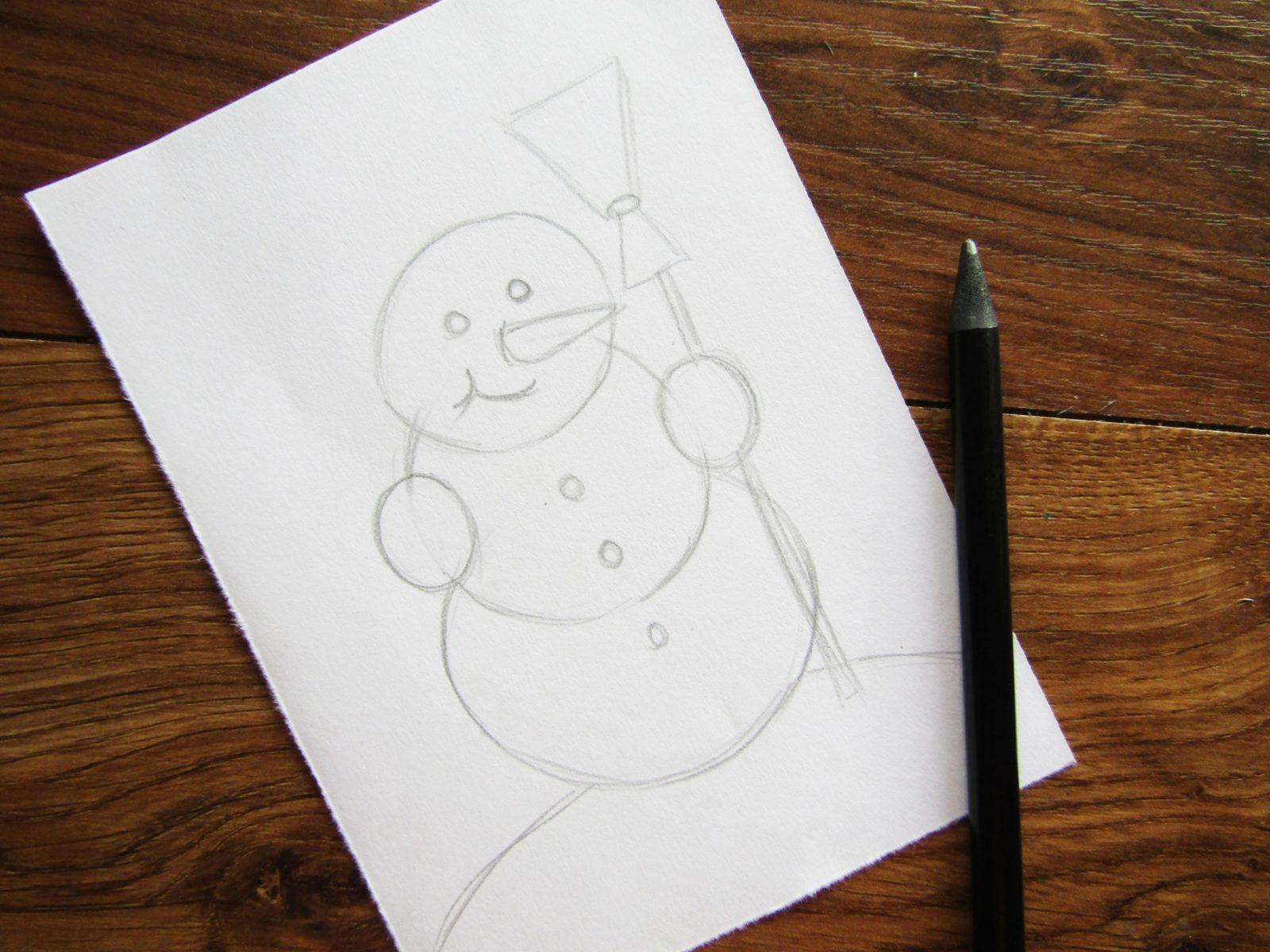 Как нарисовать снеговика гуашью - 4