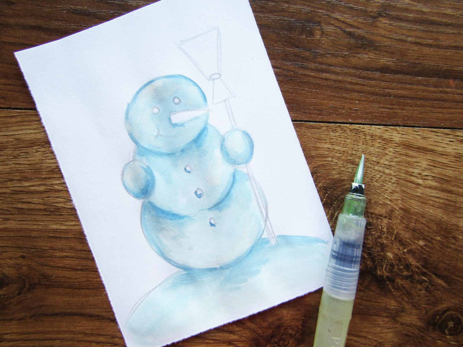 Как нарисовать снеговика гуашью - 5