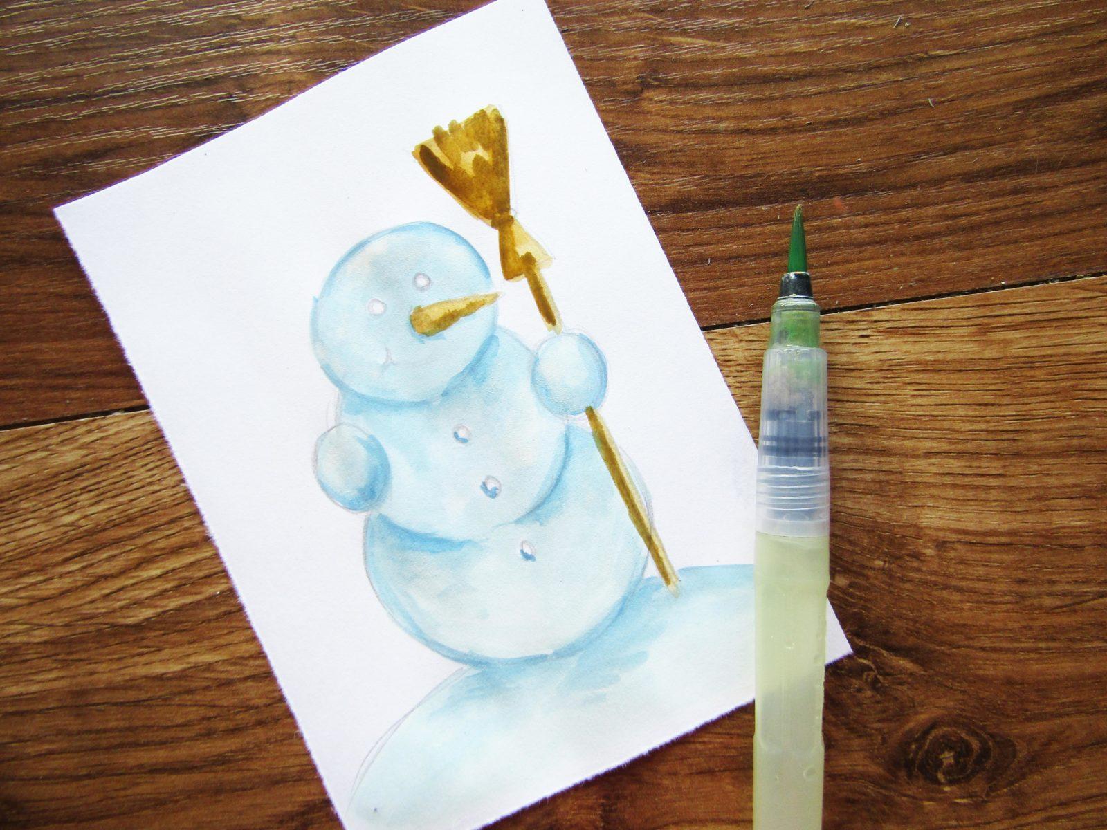 Как нарисовать снеговика гуашью - 6