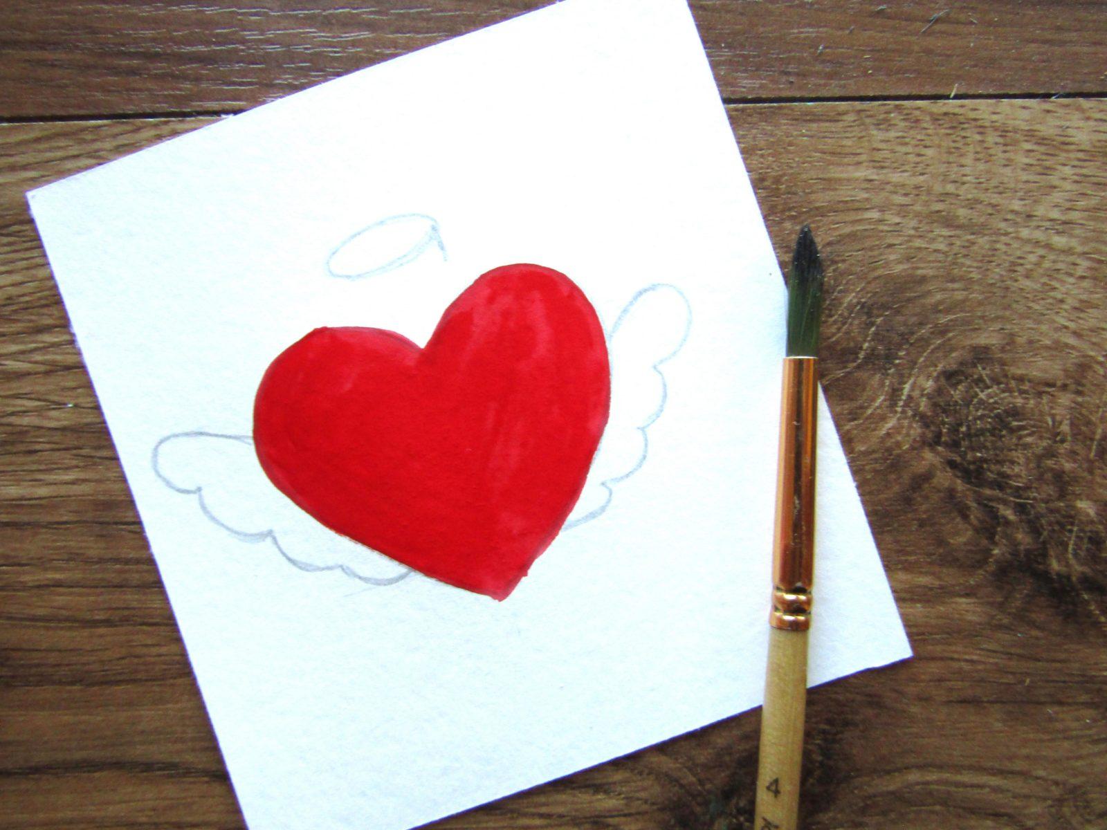 Как нарисовать сердечко гуашью - 6