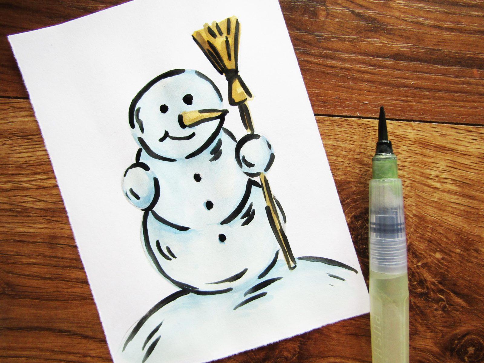 Как нарисовать снеговика гуашью - 7