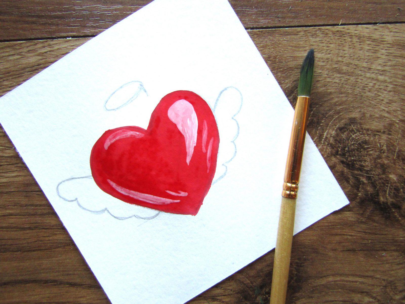 Как нарисовать сердечко гуашью - 7