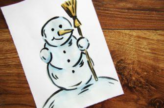 Как нарисовать снеговика гуашью