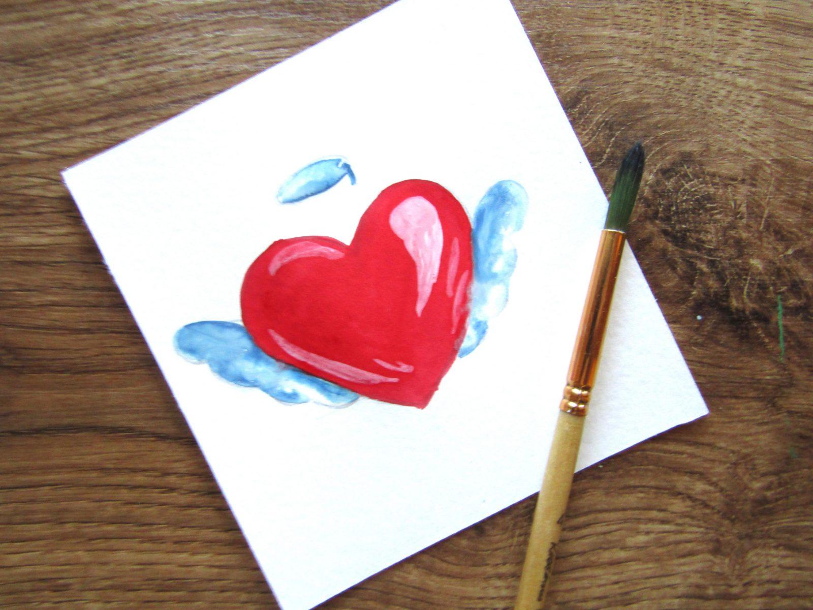 Как нарисовать сердечко гуашью - 8