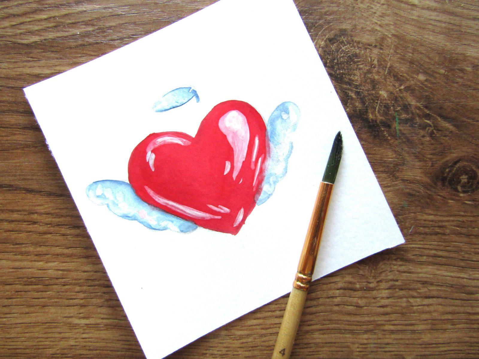 Как нарисовать сердечко гуашью - 9