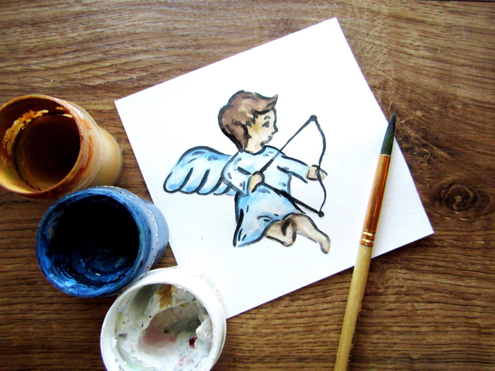 Как нарисовать ангелочка с цветком гуашью - 1