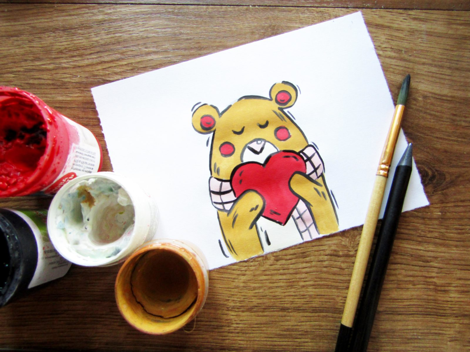 Рисунок на День святого Валентина гуашью - 1