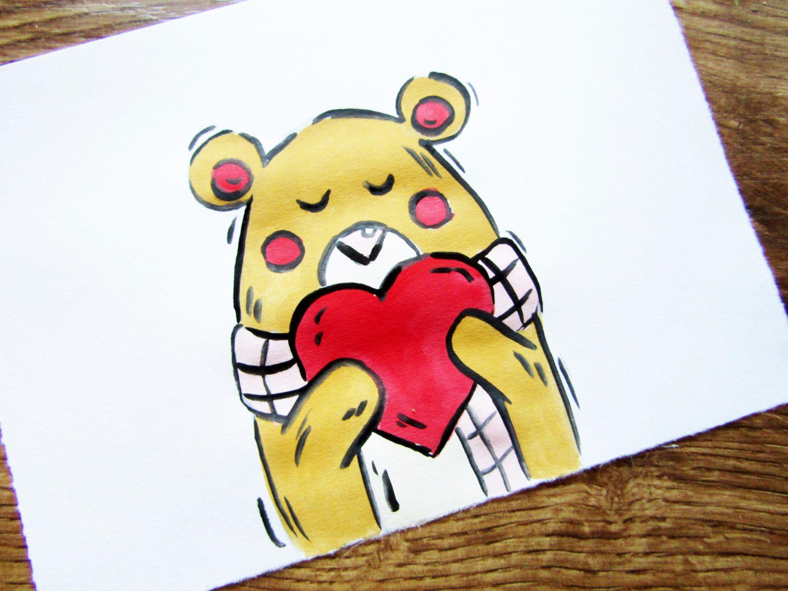 Рисунок на День святого Валентина гуашью