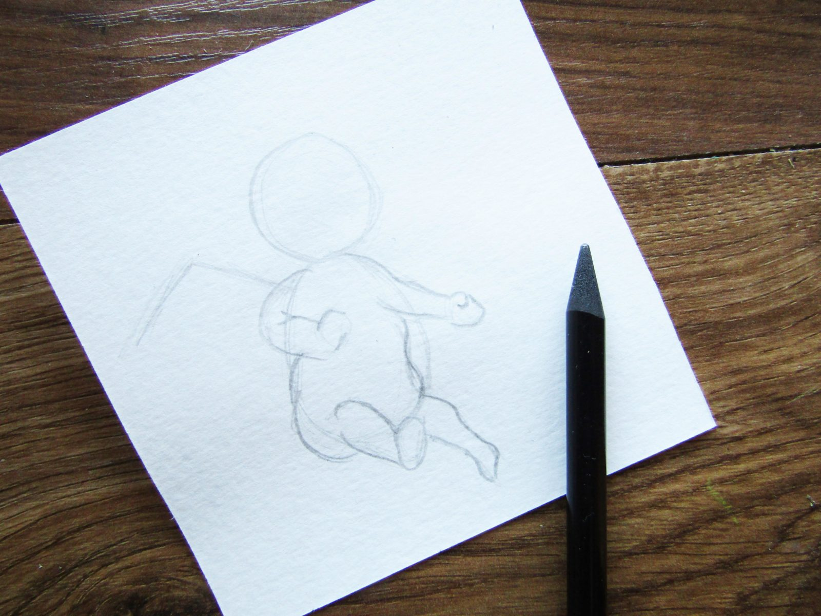 Как нарисовать ангелочка с цветком гуашью - 3