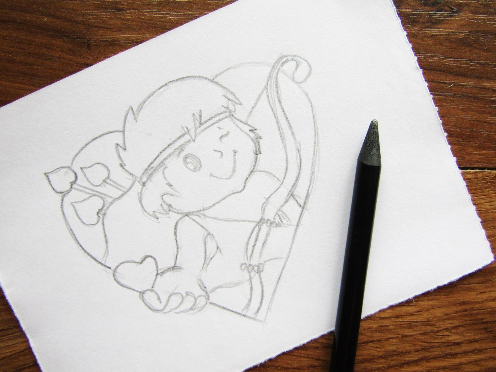 Как нарисовать Купидона гуашью - 4