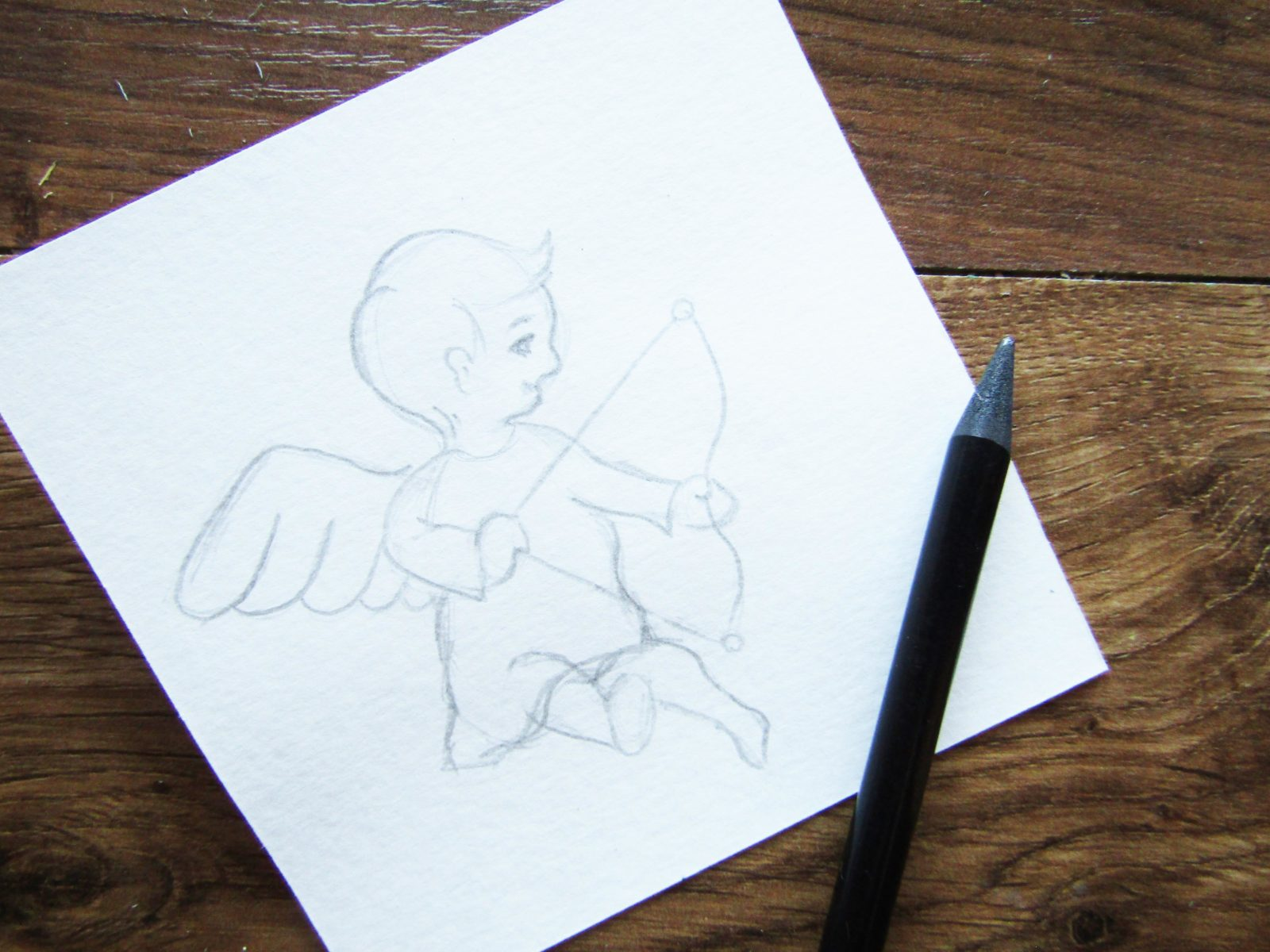 Как нарисовать ангелочка с цветком гуашью - 4