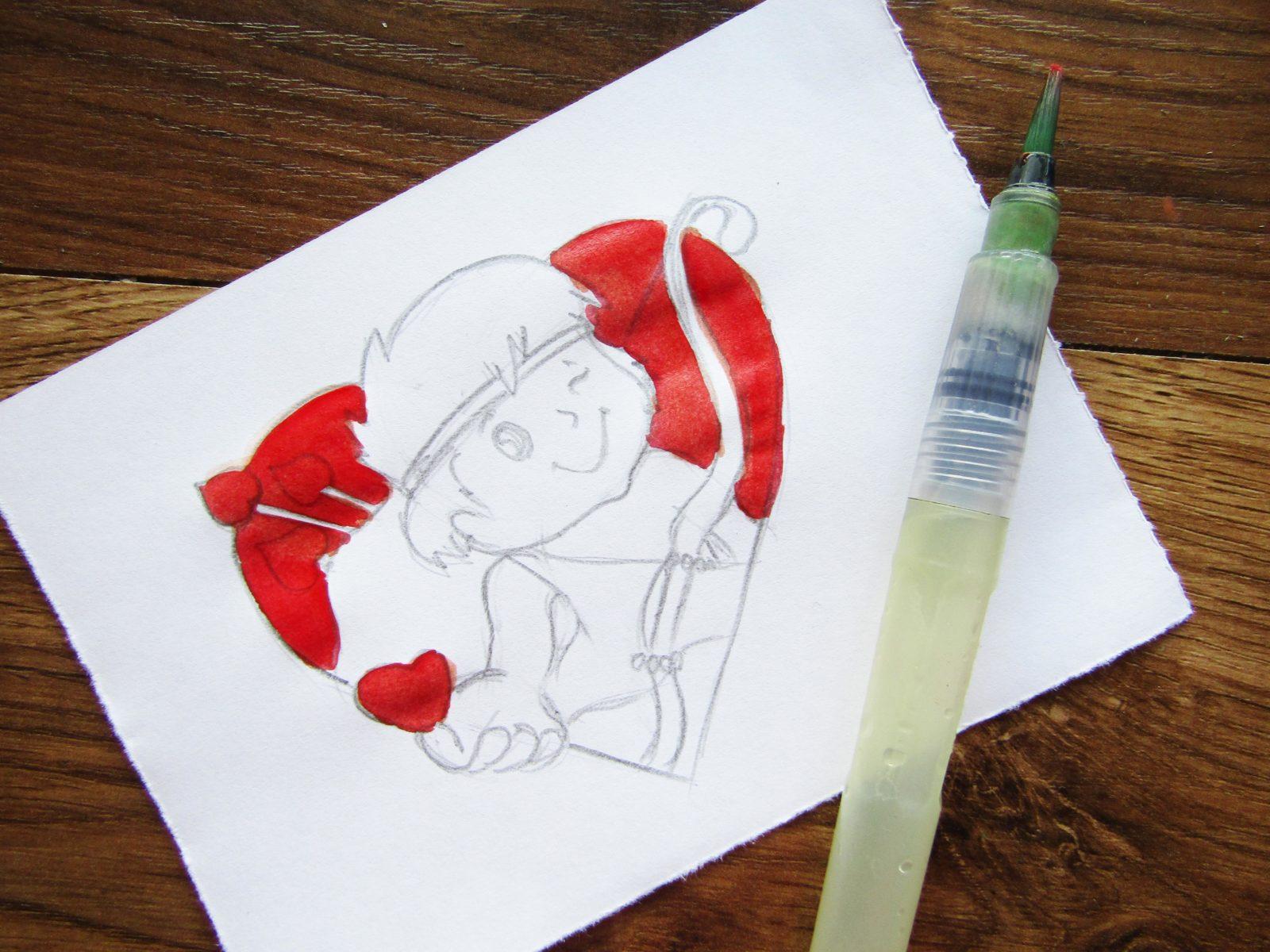 Как нарисовать Купидона гуашью - 5