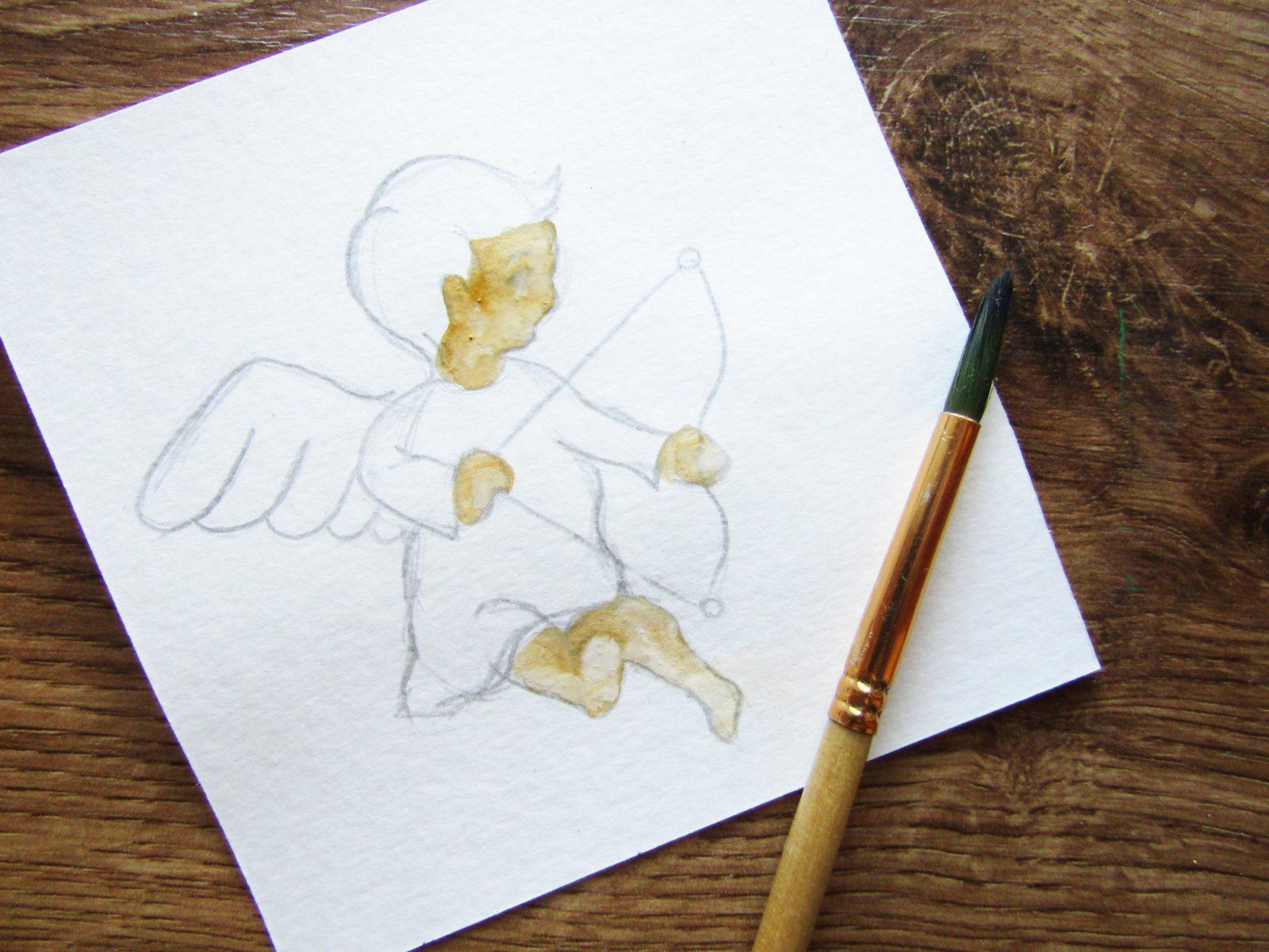 Как нарисовать ангелочка с цветком гуашью - 5