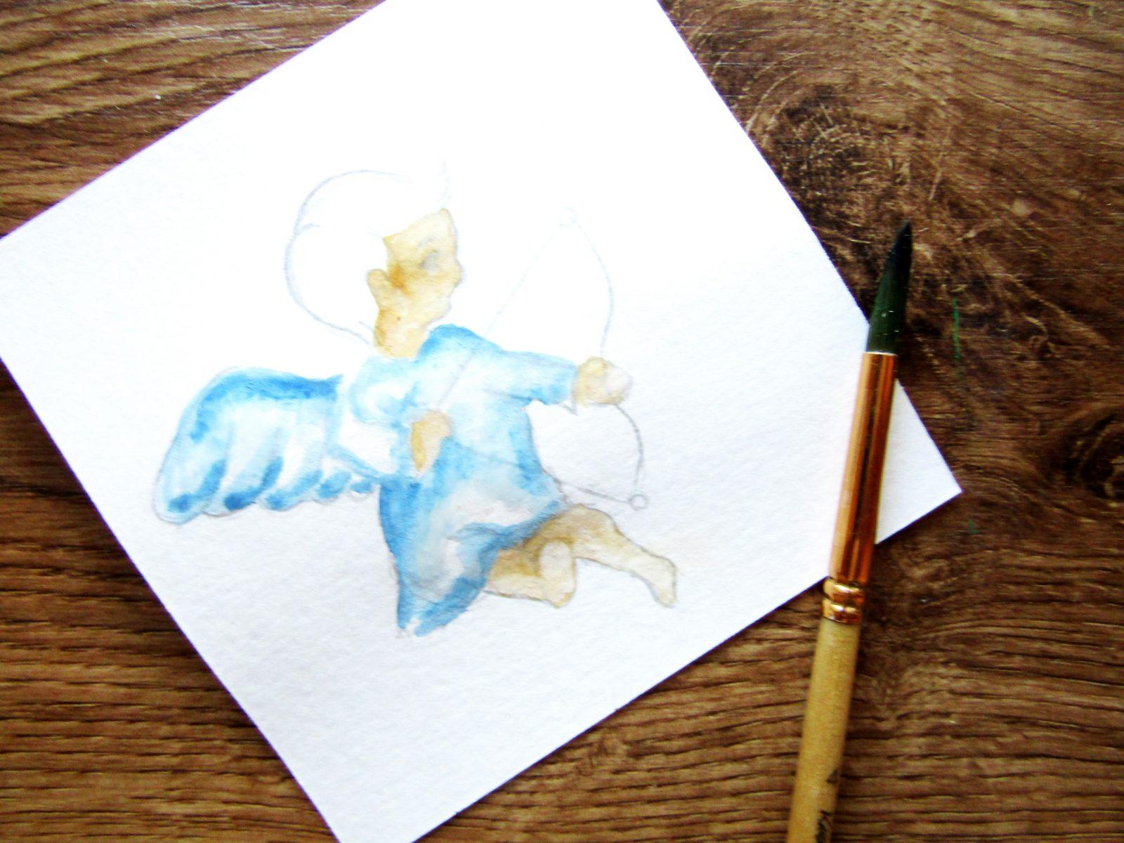 Как нарисовать ангелочка с цветком гуашью - 6