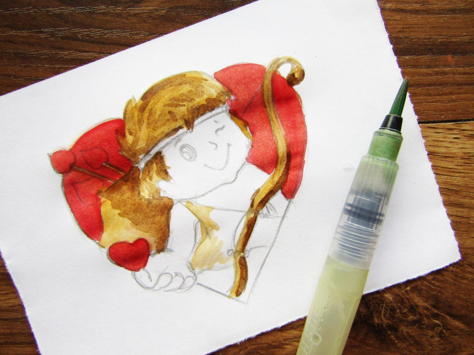 Как нарисовать Купидона гуашью - 7