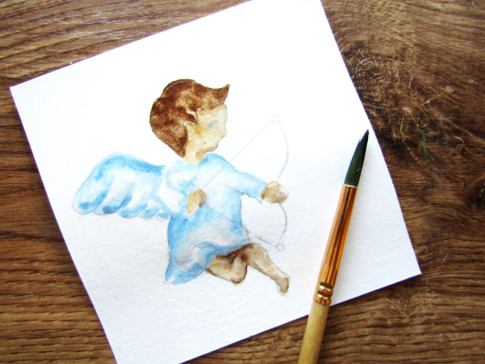 Как нарисовать ангелочка с цветком гуашью - 7