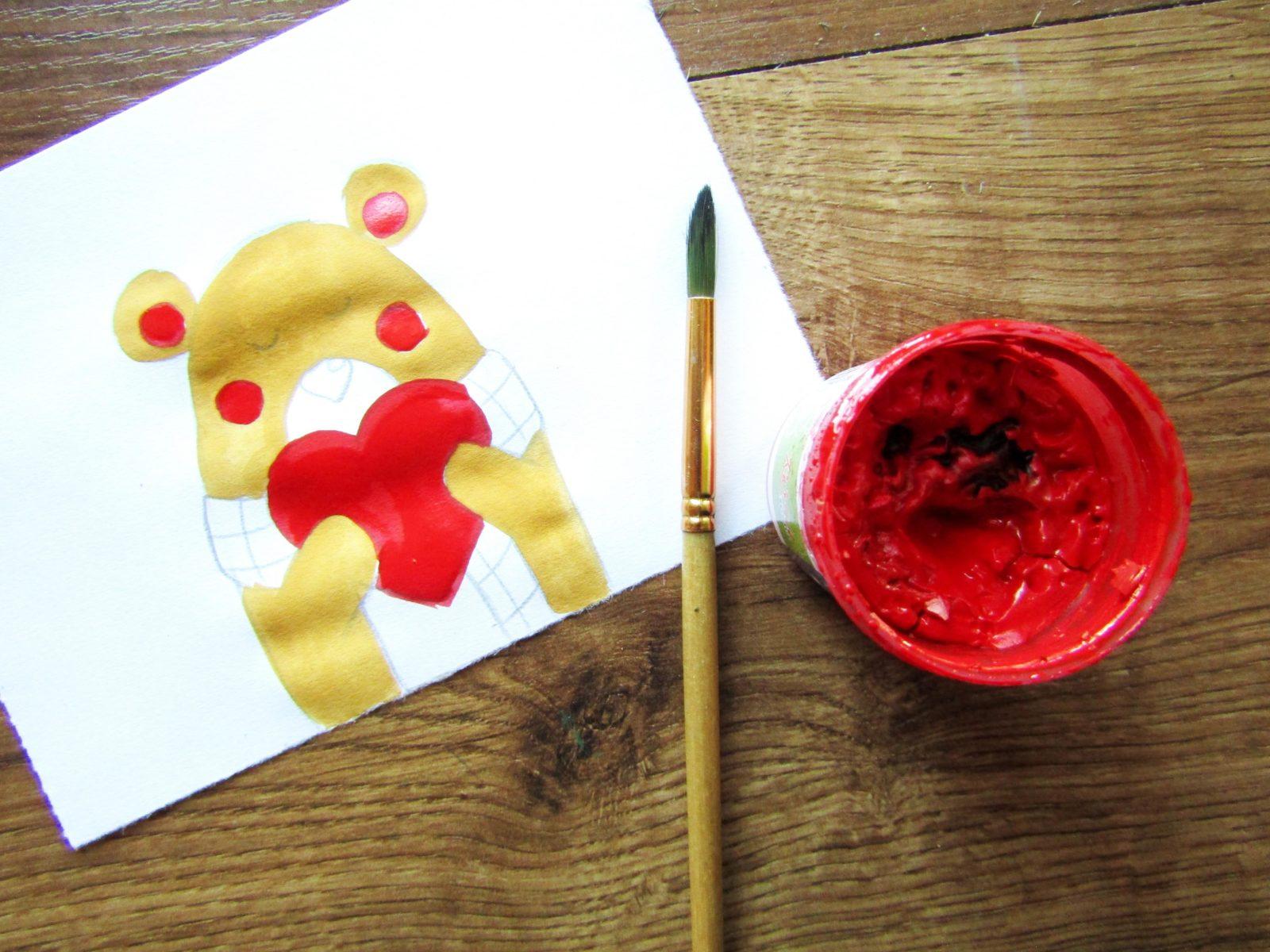 Рисунок на День святого Валентина гуашью - 7