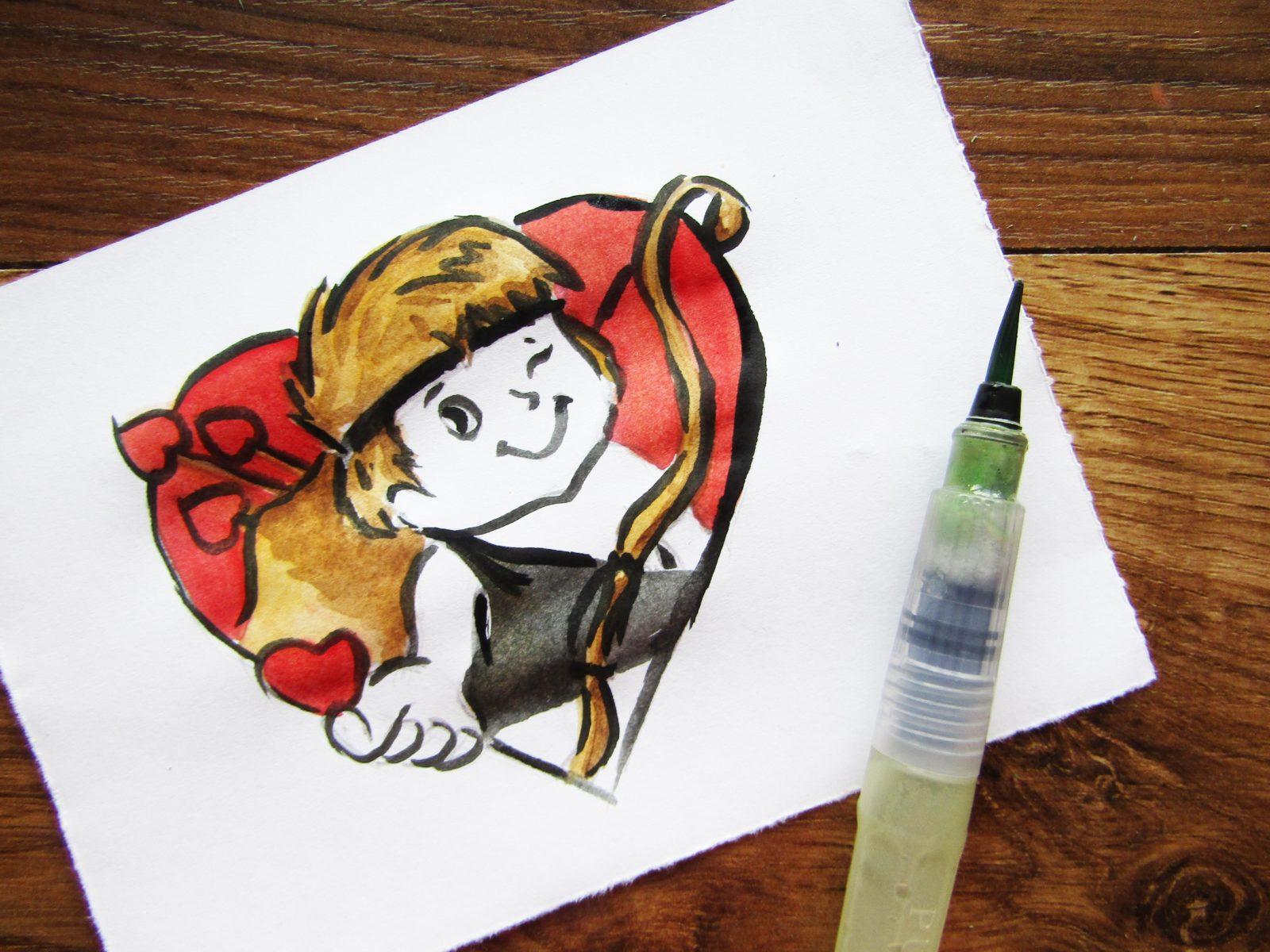 Как нарисовать Купидона гуашью - 8