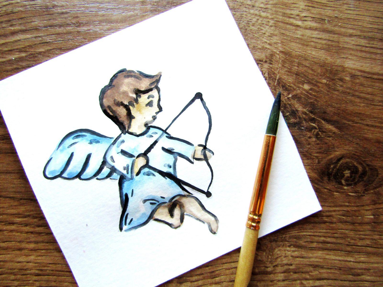 Как нарисовать ангелочка с цветком гуашью - 8