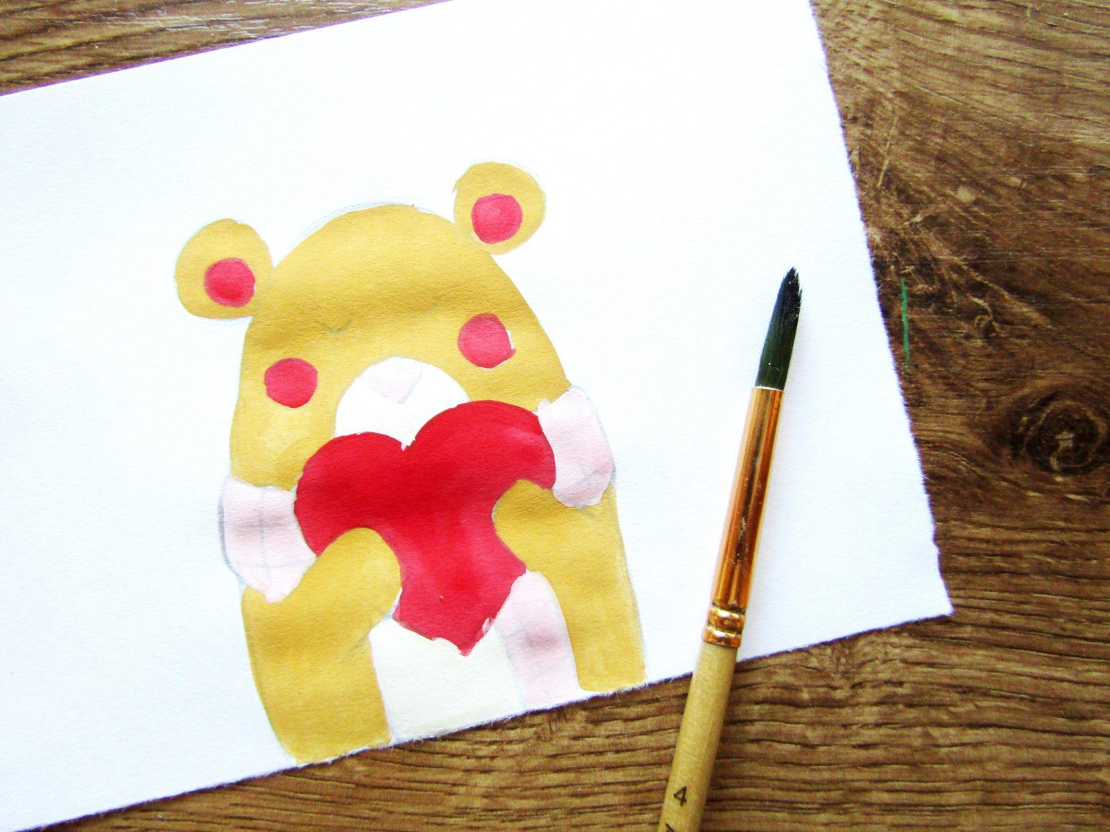 Рисунок на День святого Валентина гуашью - 8