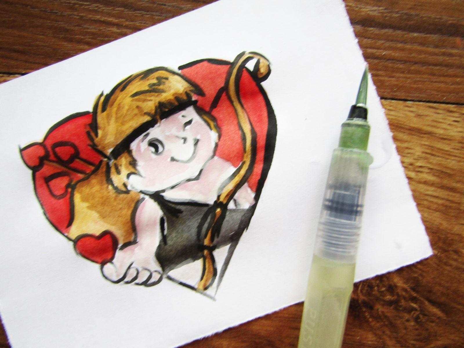 Как нарисовать Купидона гуашью - 9