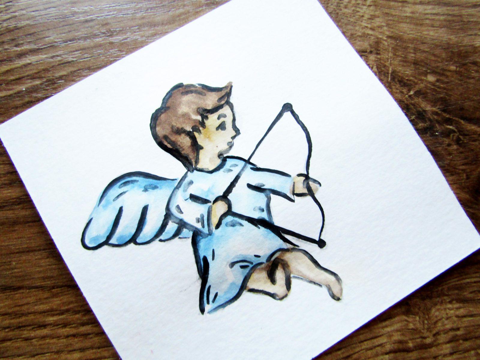 Как нарисовать ангелочка с цветком гуашью