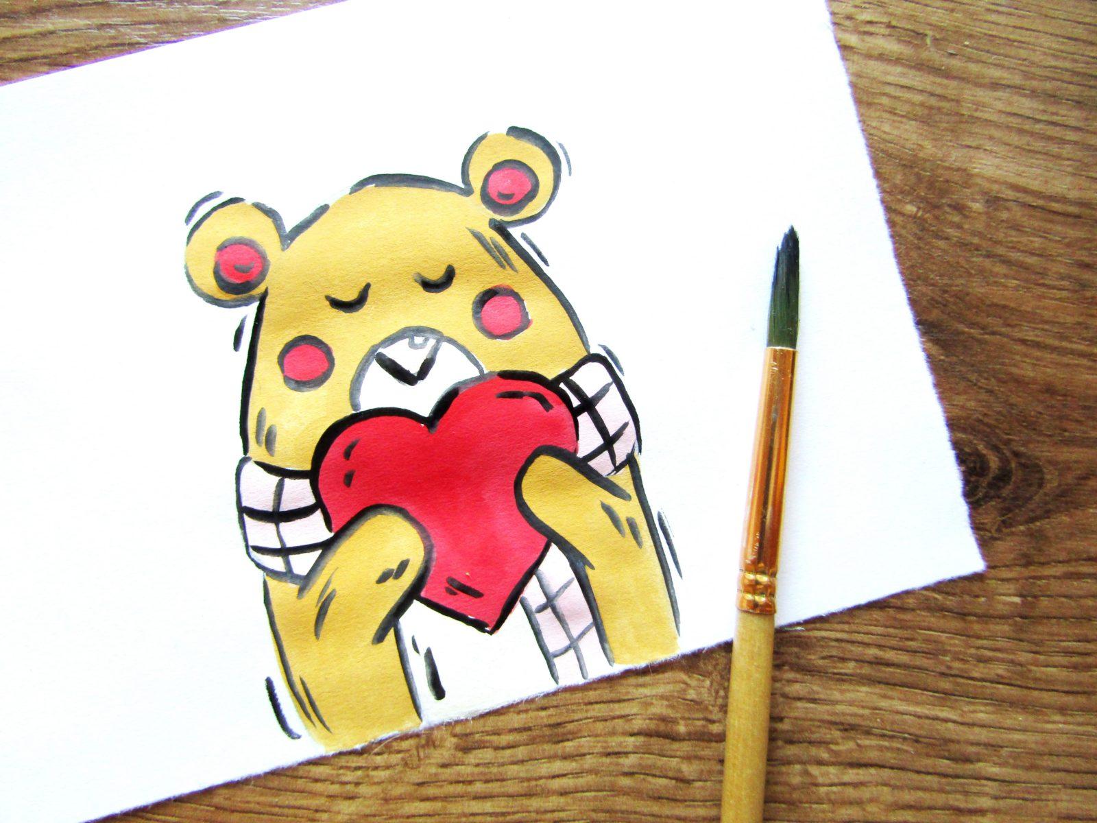 Рисунок на День святого Валентина гуашью - 9
