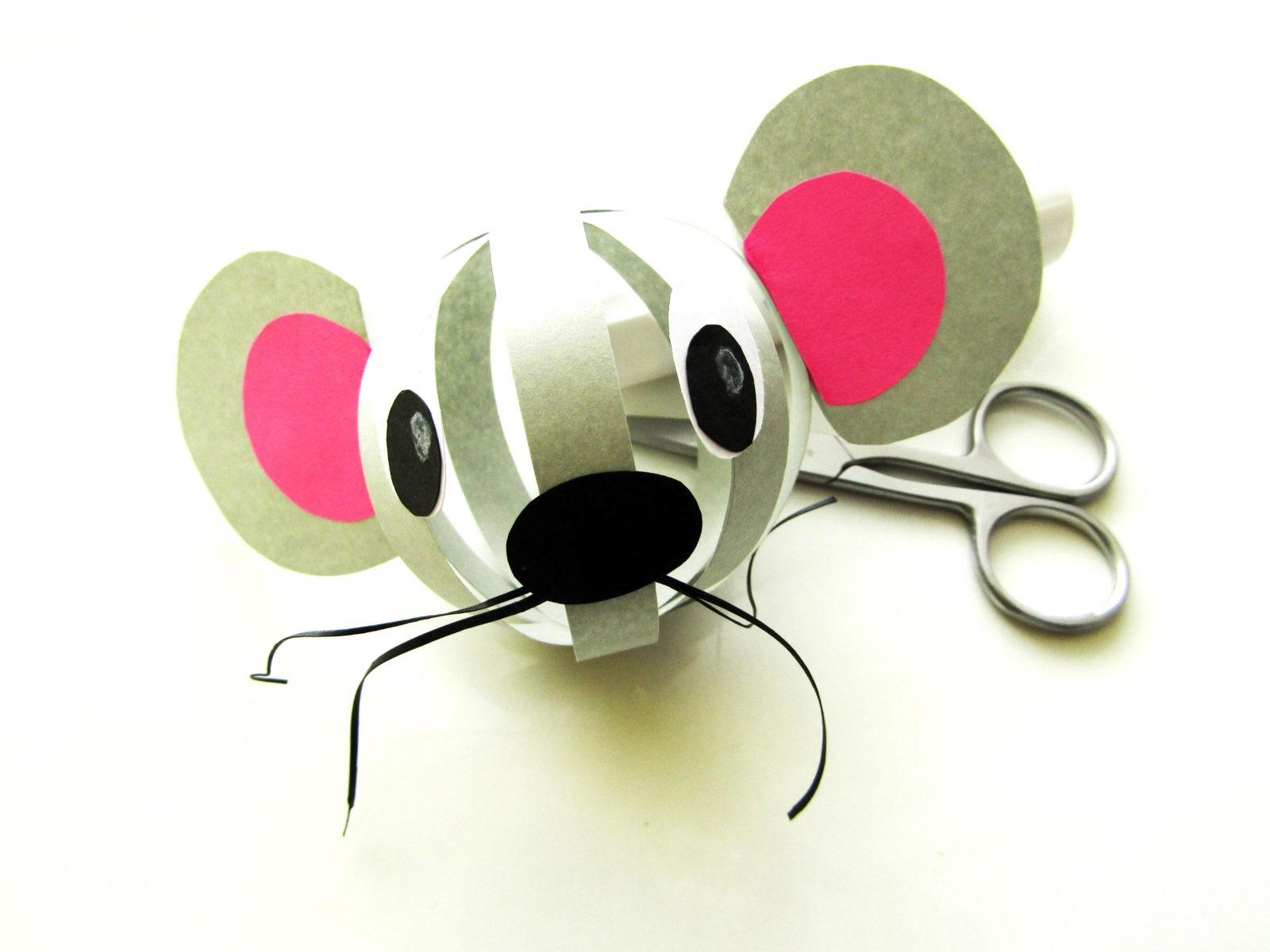 Объемная поделка мышка из бумаги - 9