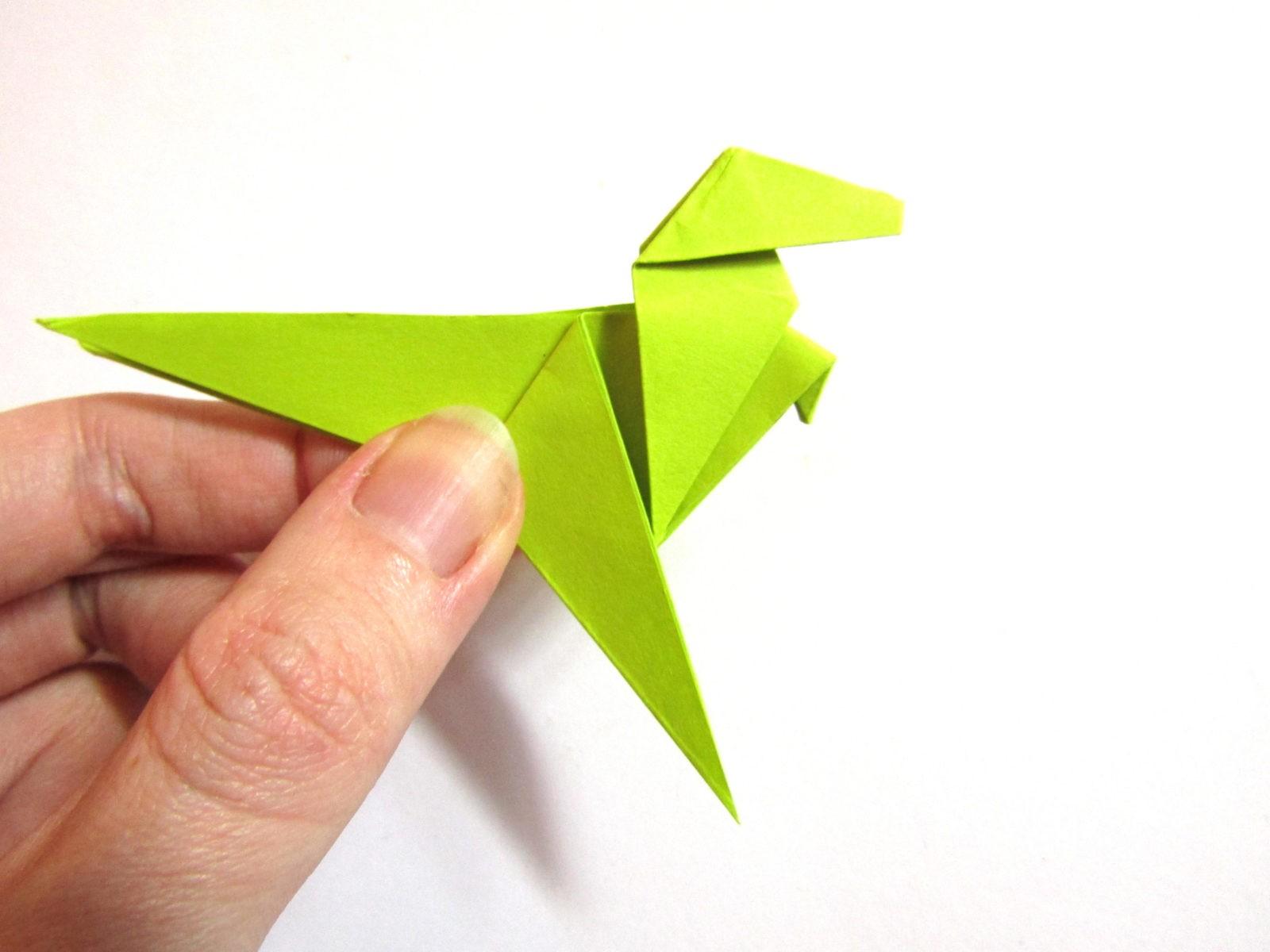 Динозавр оригами из бумаги-18