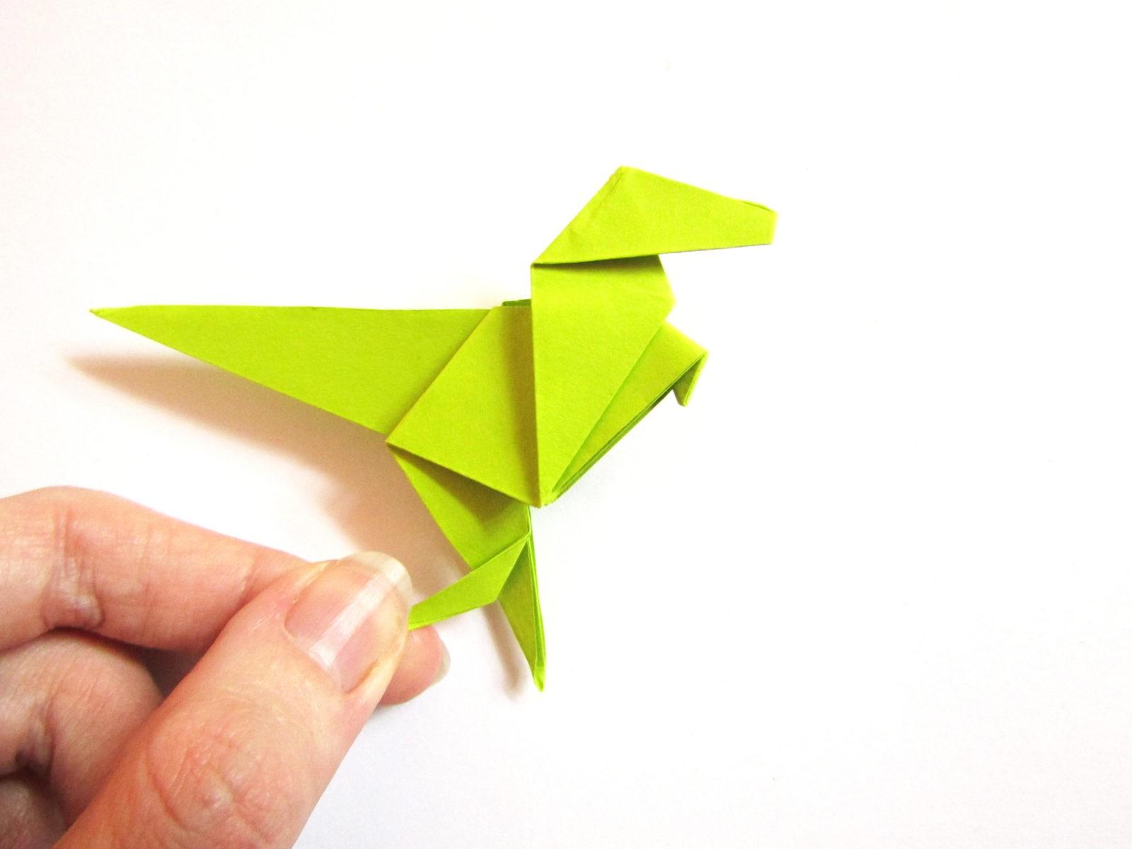 Динозавр оригами из бумаги-21