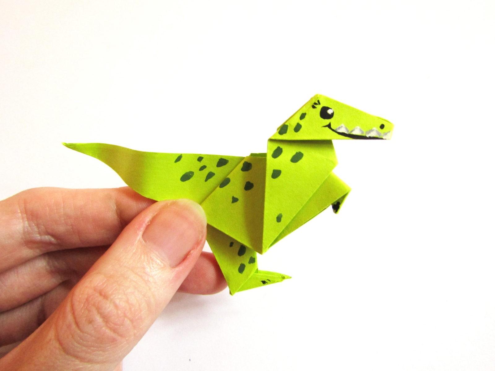Динозавр оригами из бумаги-25