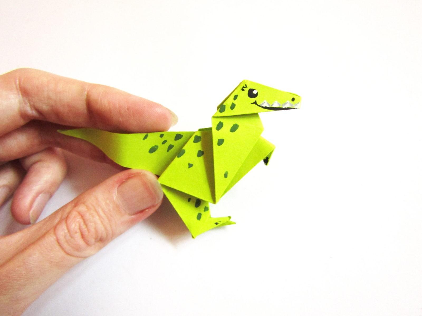 Динозавр оригами из бумаги-26