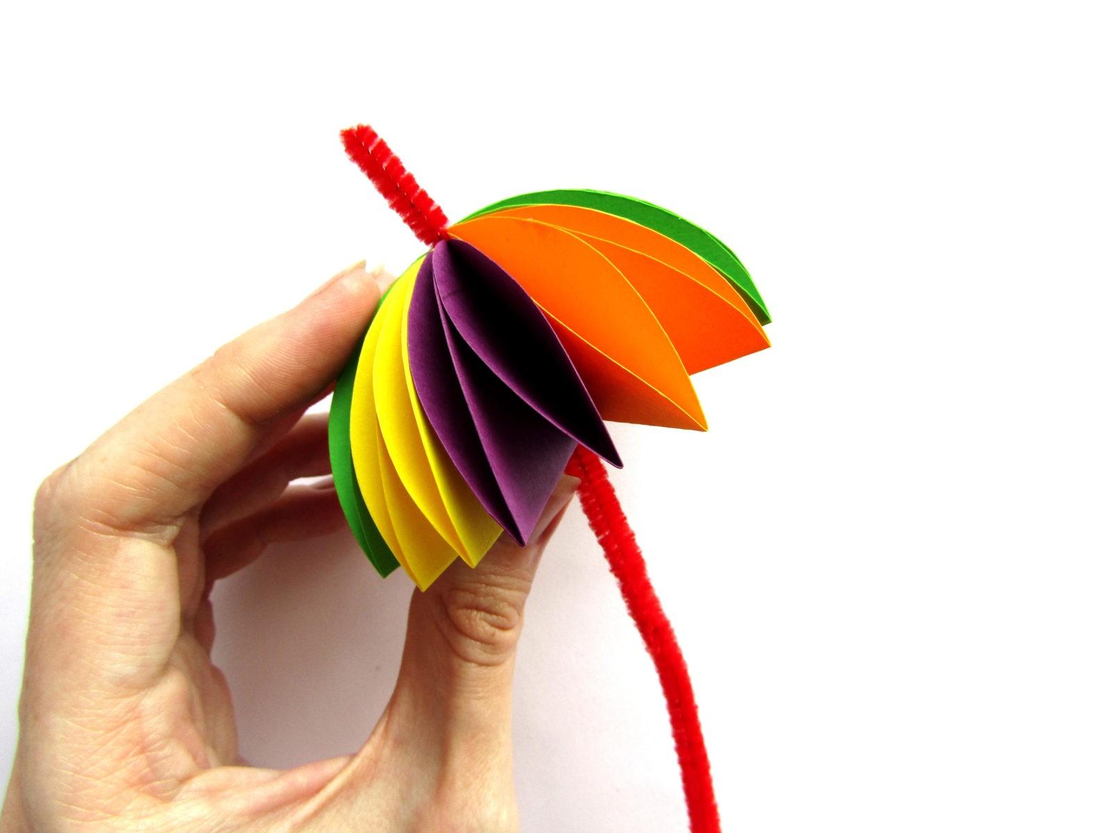 Объемная аппликация зонтик из бумаги - 10