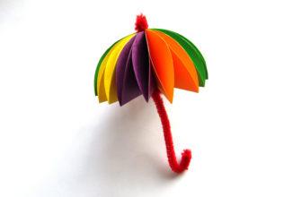 Объемная аппликация зонтик из бумаги