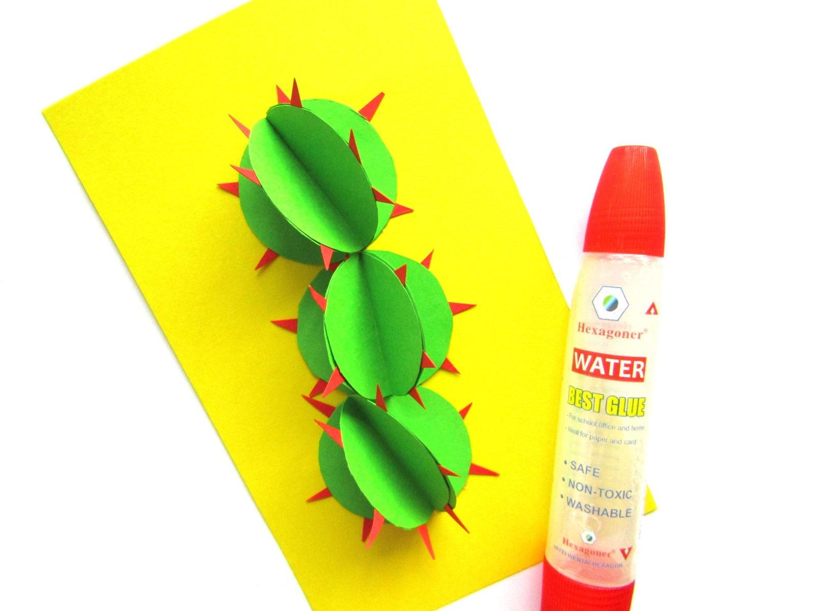 Объемная аппликация кактус из бумаги - 6