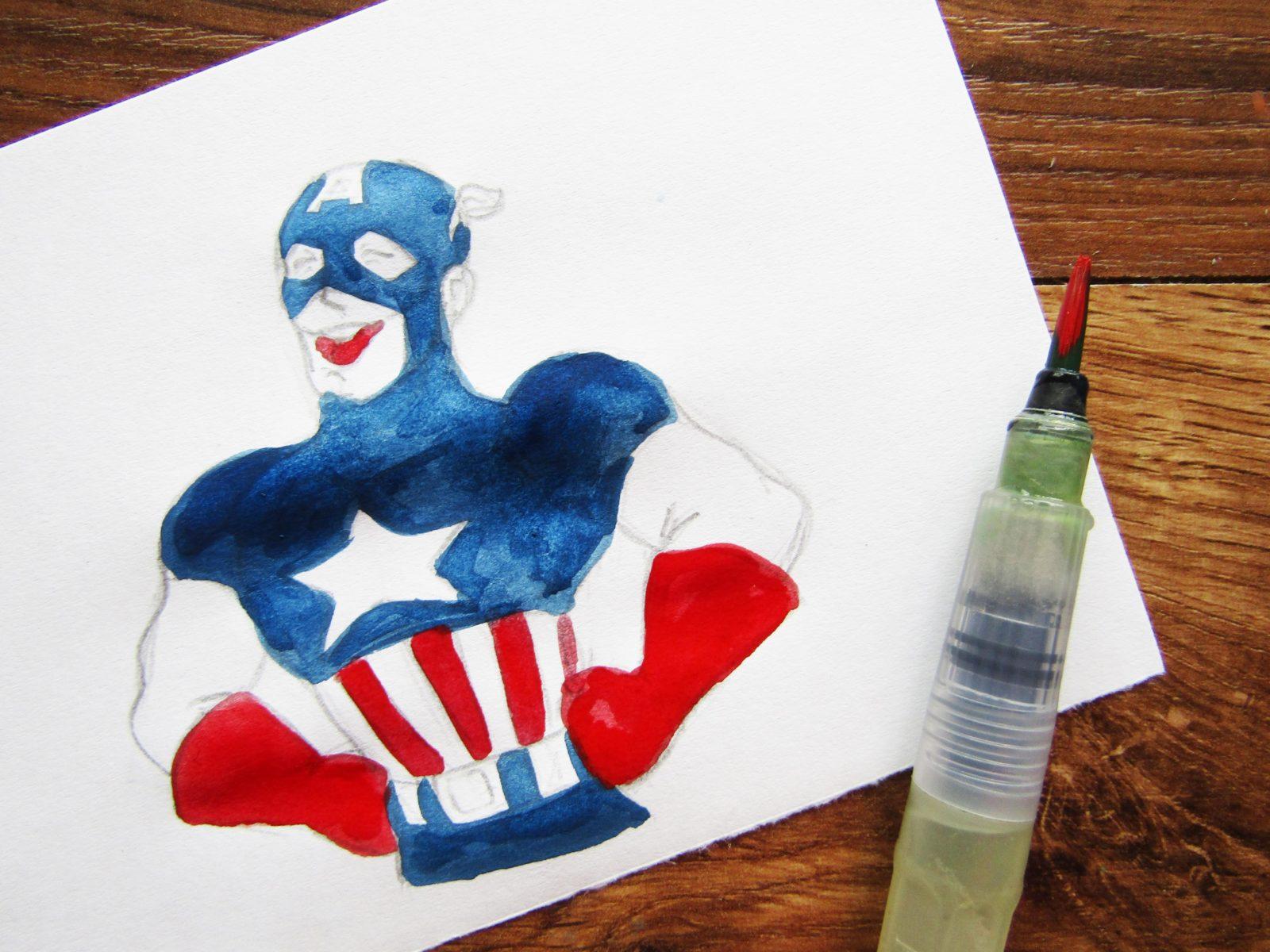 Как нарисовать Капитана Америку - 7