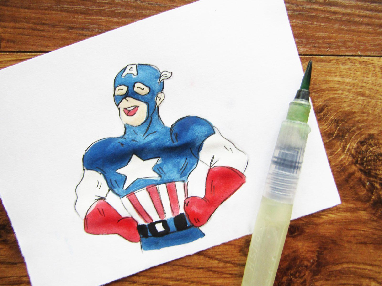 Как нарисовать Капитана Америку - 9