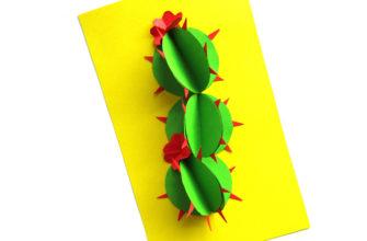 Объемная аппликация кактус из бумаги