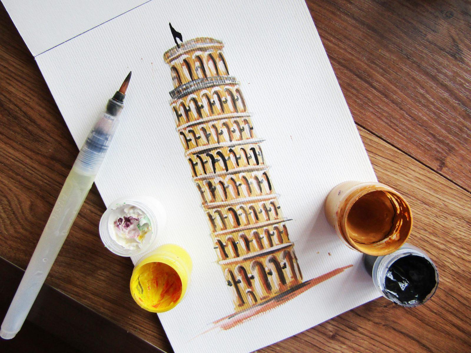 Пизанская башня гуашью - 1