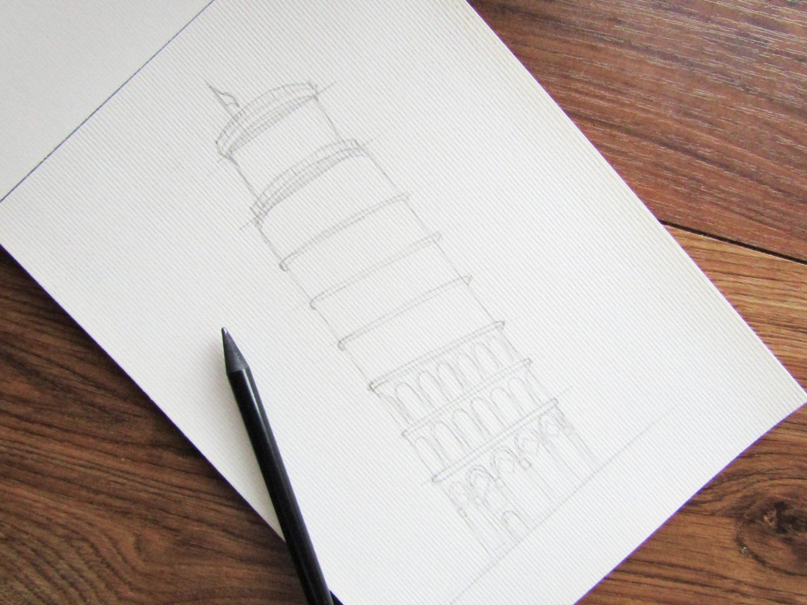 Пизанская башня гуашью - 4