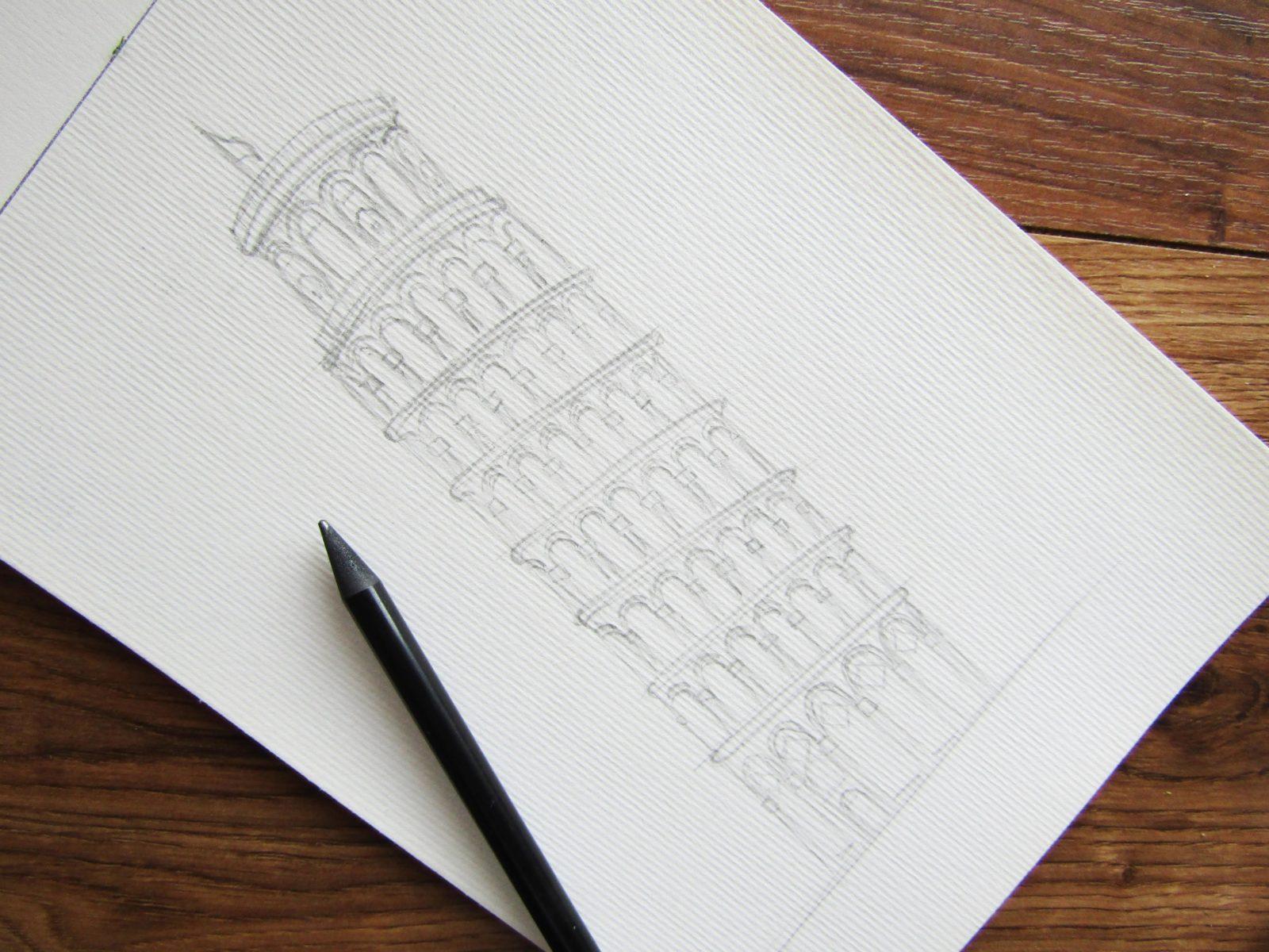 Пизанская башня гуашью - 5