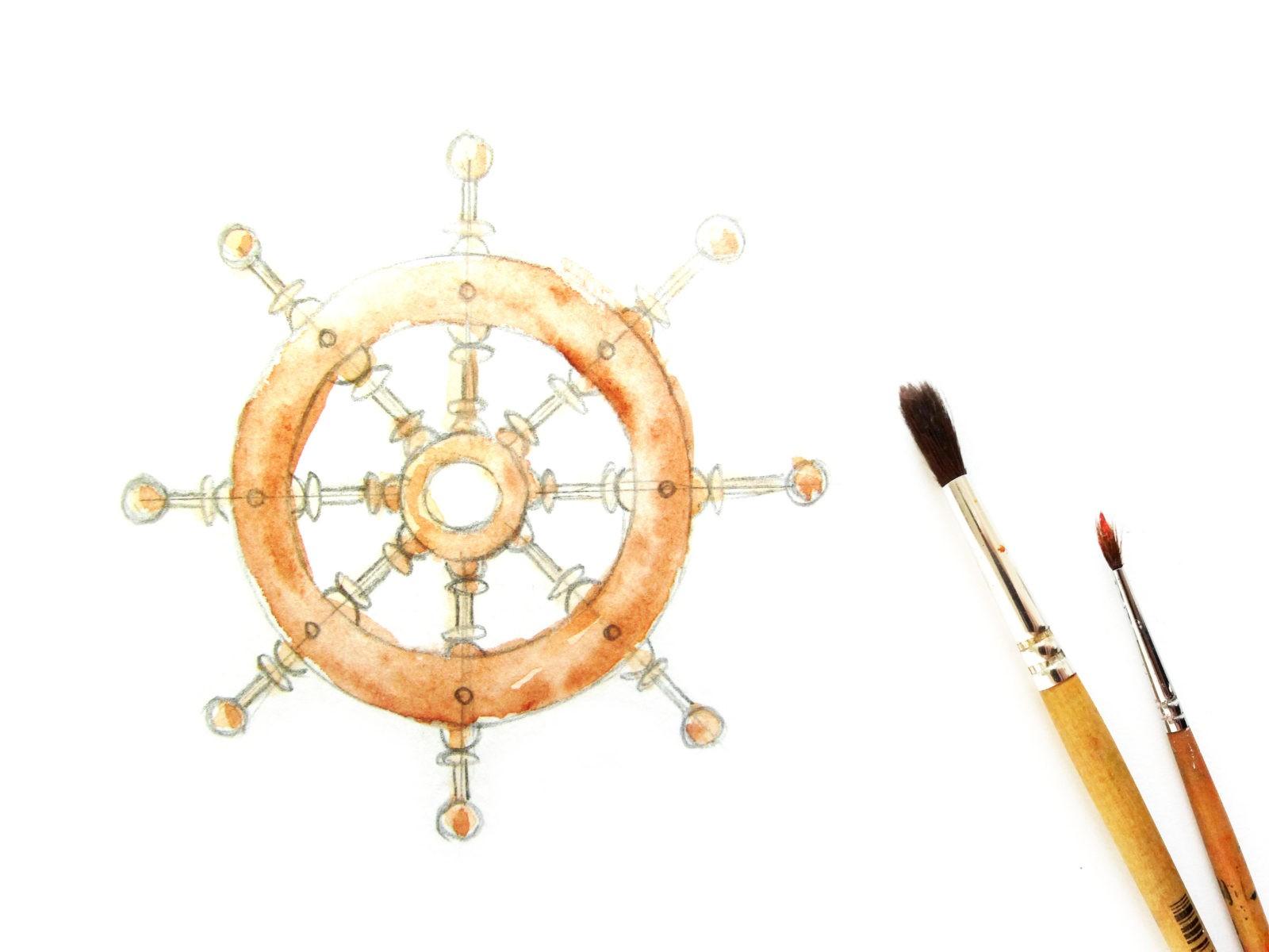 Как нарисовать штурвал акварелью - 5