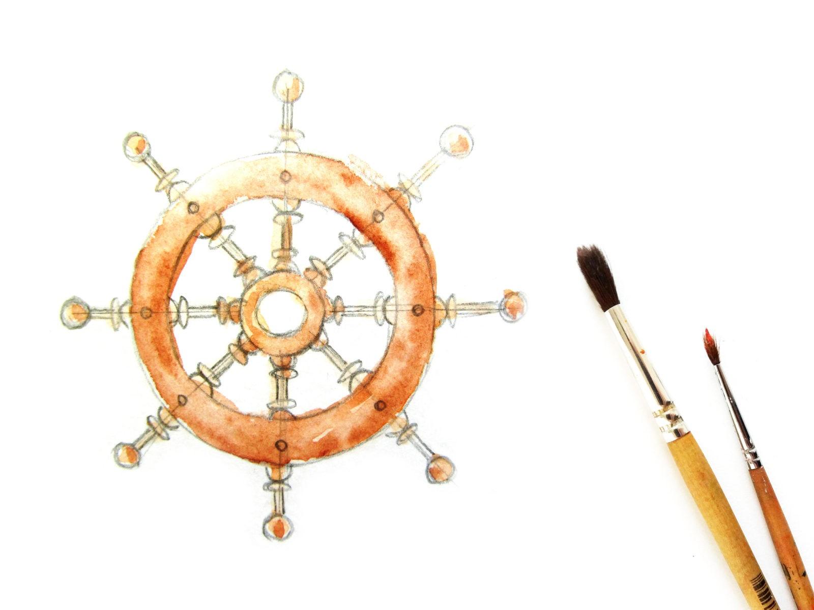 Как нарисовать штурвал акварелью - 6